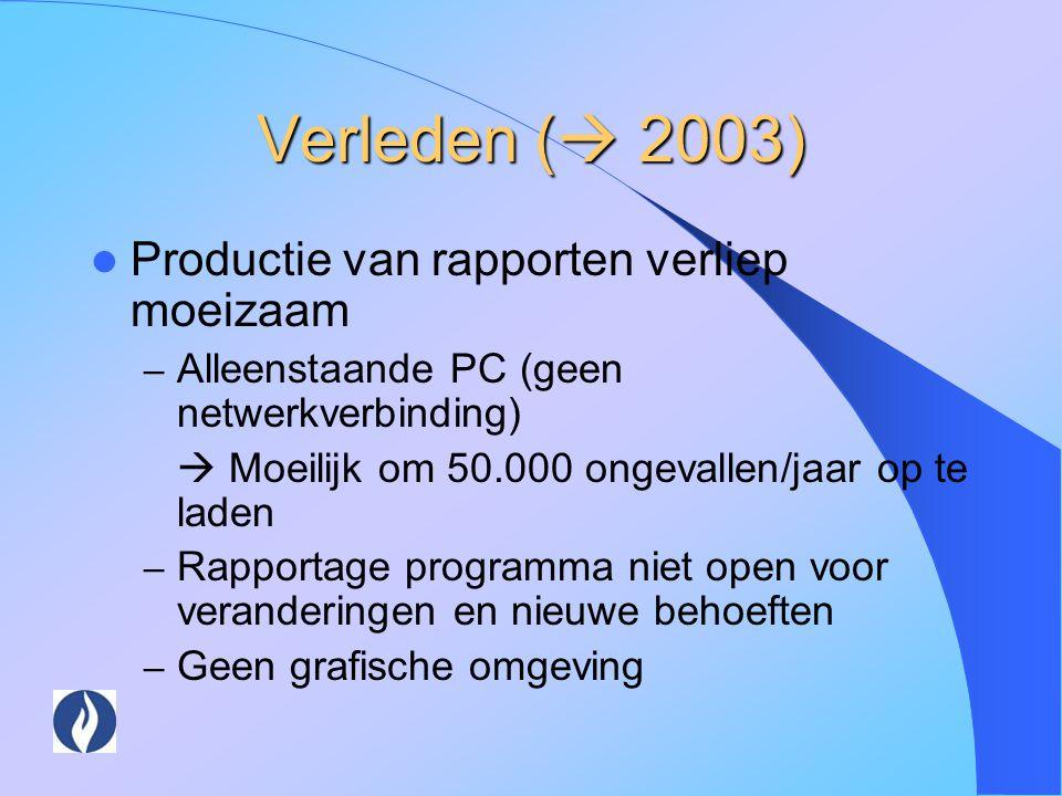 Verleden (  2003) Productie van rapporten verliep moeizaam – Alleenstaande PC (geen netwerkverbinding)  Moeilijk om 50.000 ongevallen/jaar op te lad