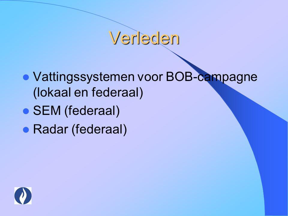 Verleden Vattingssystemen voor BOB-campagne (lokaal en federaal) SEM (federaal) Radar (federaal)
