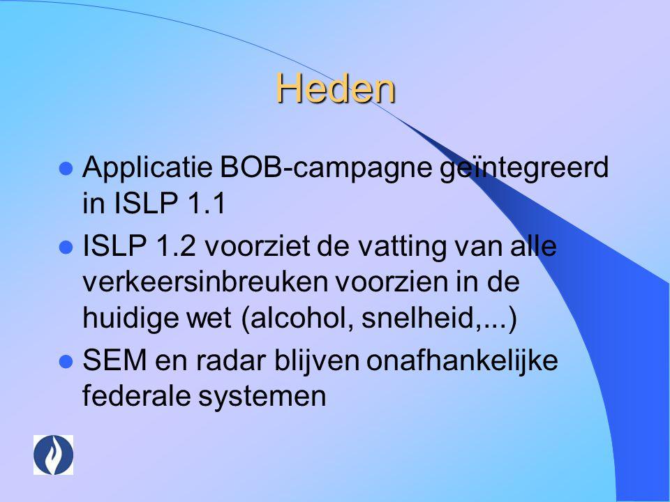 Heden Applicatie BOB-campagne geïntegreerd in ISLP 1.1 ISLP 1.2 voorziet de vatting van alle verkeersinbreuken voorzien in de huidige wet (alcohol, sn