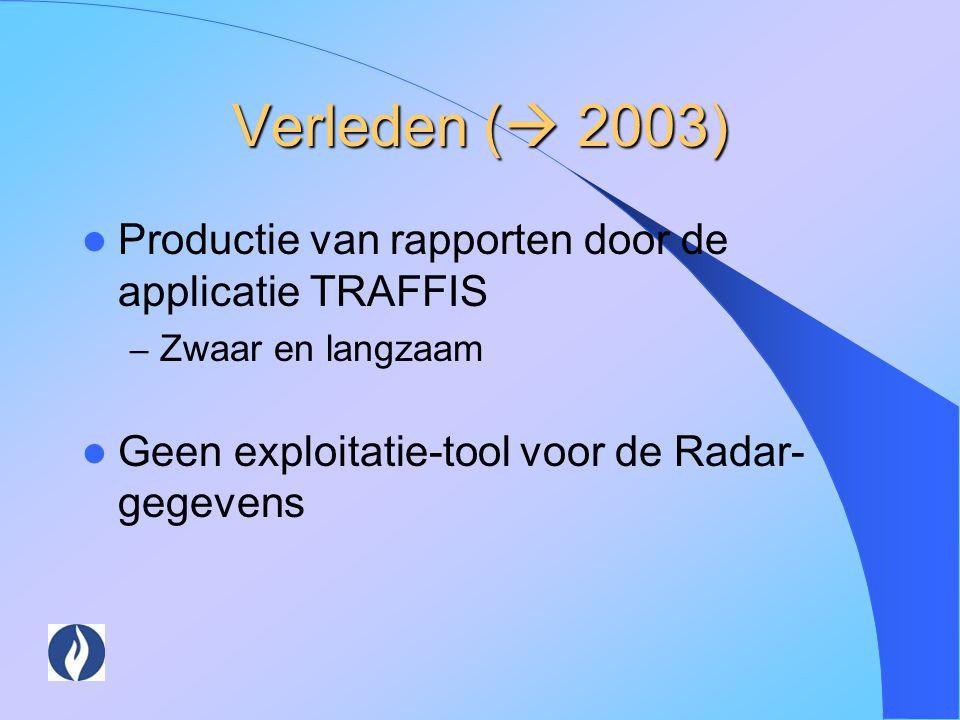 Verleden (  2003) Productie van rapporten door de applicatie TRAFFIS – Zwaar en langzaam Geen exploitatie-tool voor de Radar- gegevens
