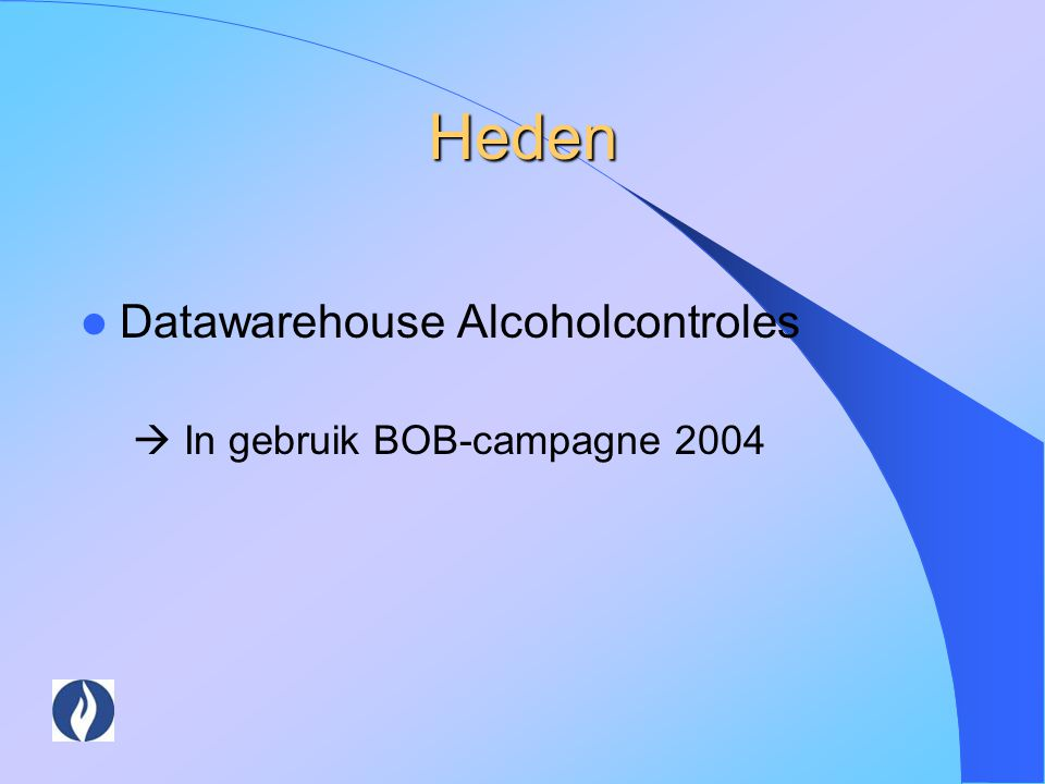 Heden Datawarehouse Alcoholcontroles  In gebruik BOB-campagne 2004