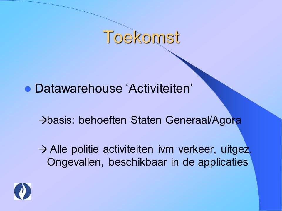 Toekomst Datawarehouse 'Activiteiten'  basis: behoeften Staten Generaal/Agora  Alle politie activiteiten ivm verkeer, uitgez. Ongevallen, beschikbaa