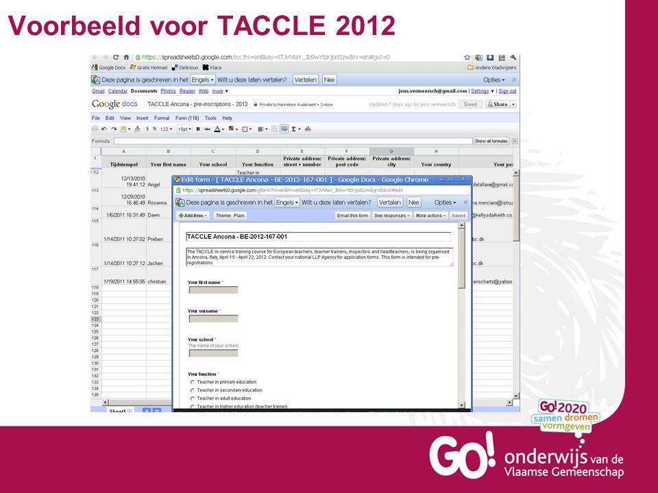 Voorbeeld voor TACCLE 2012