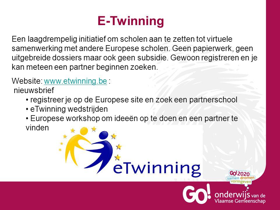 E-Twinning Een laagdrempelig initiatief om scholen aan te zetten tot virtuele samenwerking met andere Europese scholen.