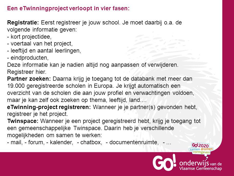 Een eTwinningproject verloopt in vier fasen: Registratie: Eerst registreer je jouw school.