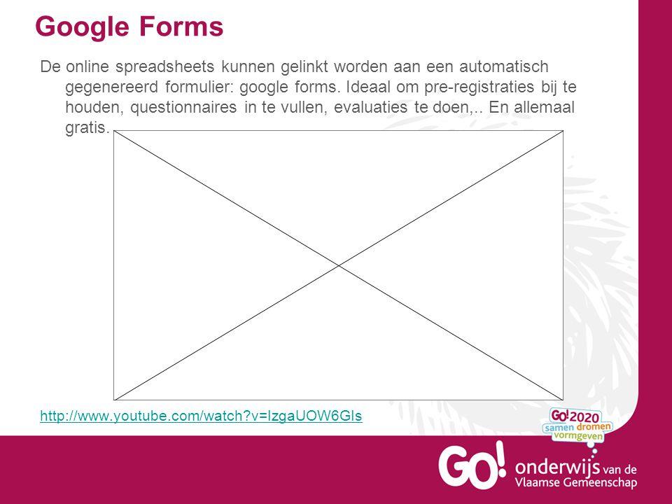 Google Forms De online spreadsheets kunnen gelinkt worden aan een automatisch gegenereerd formulier: google forms.