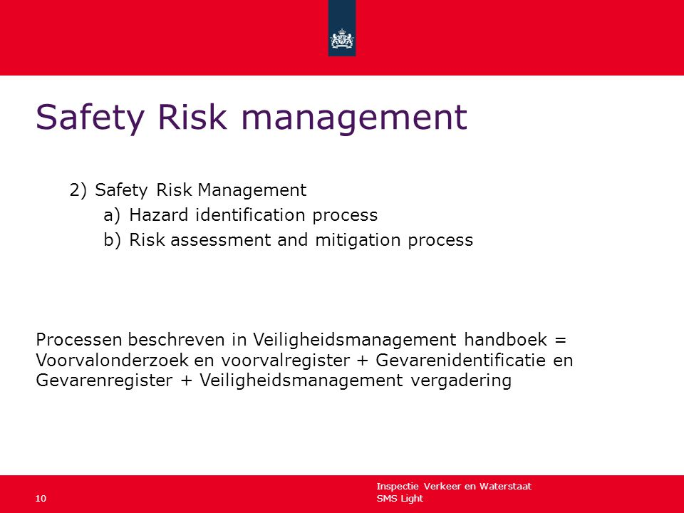Inspectie Verkeer en Waterstaat SMS Light10 Safety Risk management 2)Safety Risk Management a)Hazard identification process b)Risk assessment and mitigation process Processen beschreven in Veiligheidsmanagement handboek = Voorvalonderzoek en voorvalregister + Gevarenidentificatie en Gevarenregister + Veiligheidsmanagement vergadering