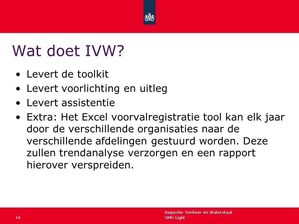 Inspectie Verkeer en Waterstaat SMS Light14 Wat doet IVW? Levert de toolkit Levert voorlichting en uitleg Levert assistentie Extra: Het Excel voorvalr