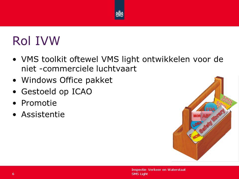 Inspectie Verkeer en Waterstaat SMS Light6 Rol IVW VMS toolkit oftewel VMS light ontwikkelen voor de niet -commerciele luchtvaart Windows Office pakke