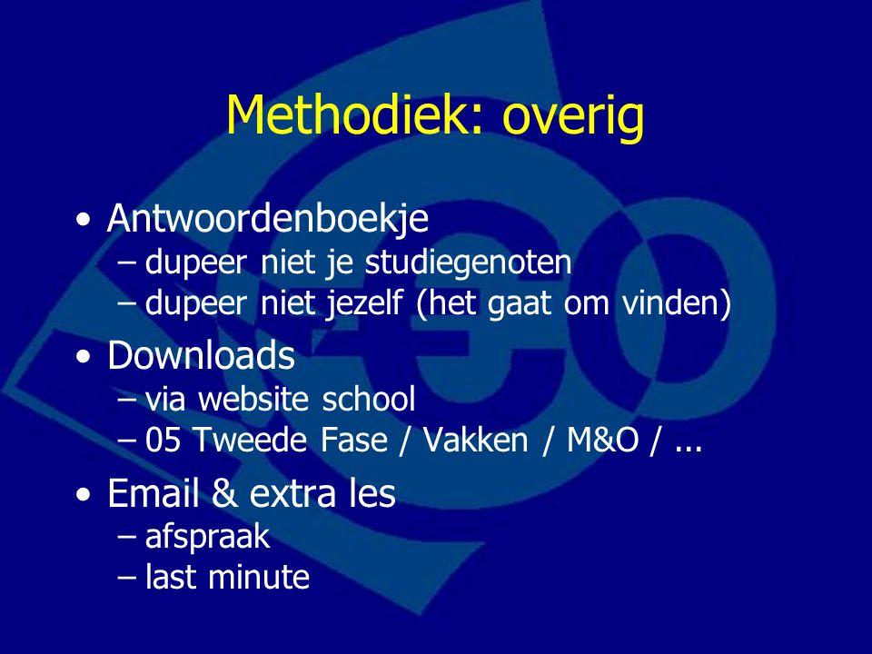 Methodiek: overig Antwoordenboekje –dupeer niet je studiegenoten –dupeer niet jezelf (het gaat om vinden) Downloads –via website school –05 Tweede Fase / Vakken / M&O /...