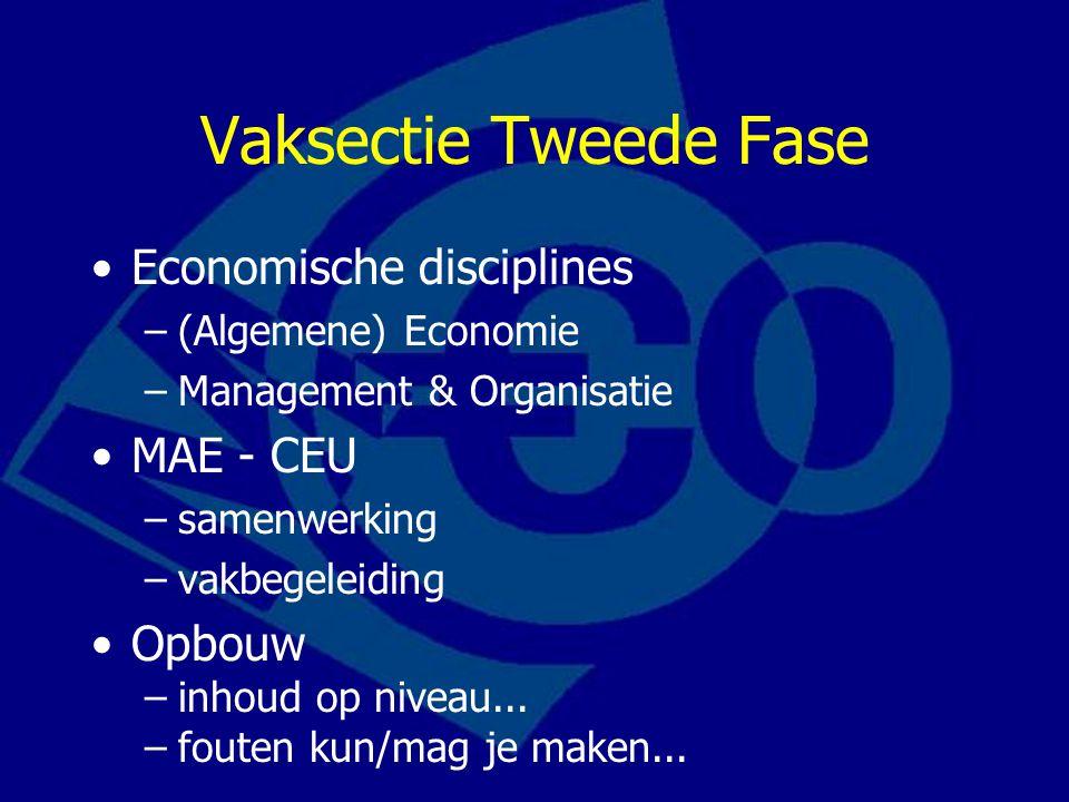 Vaksectie Tweede Fase Economische disciplines –(Algemene) Economie –Management & Organisatie MAE - CEU –samenwerking –vakbegeleiding Opbouw –inhoud op niveau...