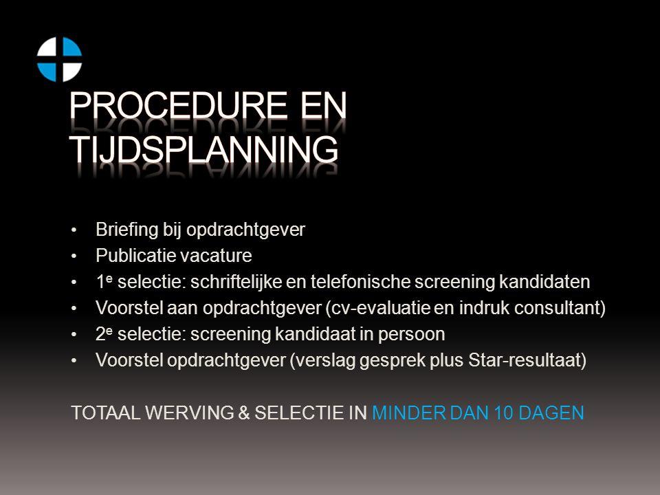 Briefing bij opdrachtgever Publicatie vacature 1 e selectie: schriftelijke en telefonische screening kandidaten Voorstel aan opdrachtgever (cv-evaluat