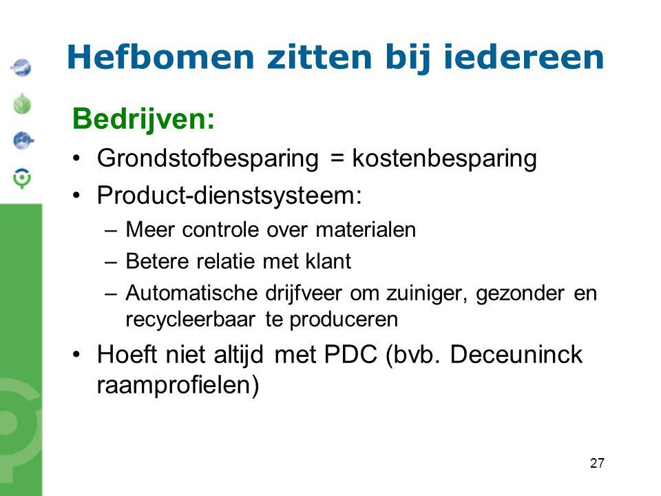27 Hefbomen zitten bij iedereen Bedrijven: Grondstofbesparing = kostenbesparing Product-dienstsysteem: –Meer controle over materialen –Betere relatie met klant –Automatische drijfveer om zuiniger, gezonder en recycleerbaar te produceren Hoeft niet altijd met PDC (bvb.