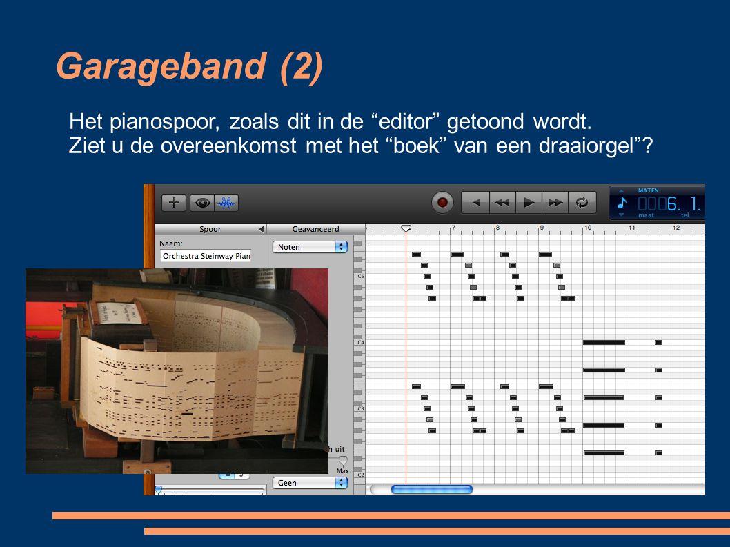 """Garageband (2) Het pianospoor, zoals dit in de """"editor"""" getoond wordt. Ziet u de overeenkomst met het """"boek"""" van een draaiorgel""""?"""