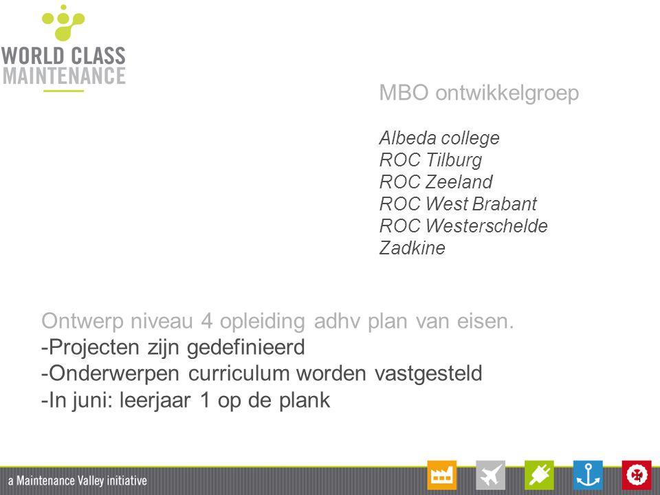 1 MBO ontwikkelgroep Albeda college ROC Tilburg ROC Zeeland ROC West Brabant ROC Westerschelde Zadkine Ontwerp niveau 4 opleiding adhv plan van eisen.