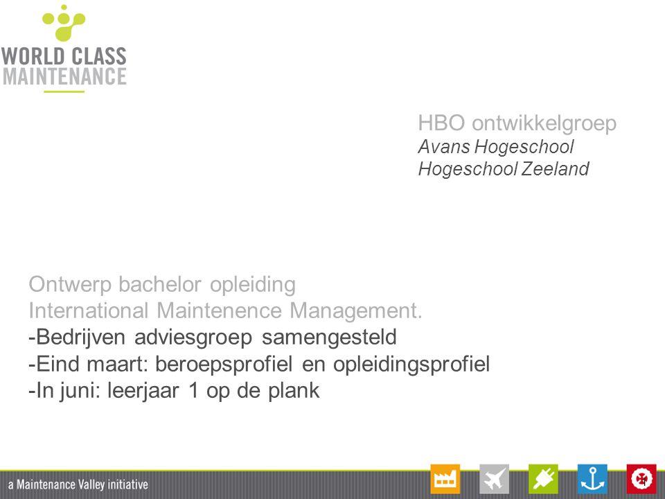 1 HBO ontwikkelgroep Avans Hogeschool Hogeschool Zeeland Ontwerp bachelor opleiding International Maintenence Management. -Bedrijven adviesgroep samen