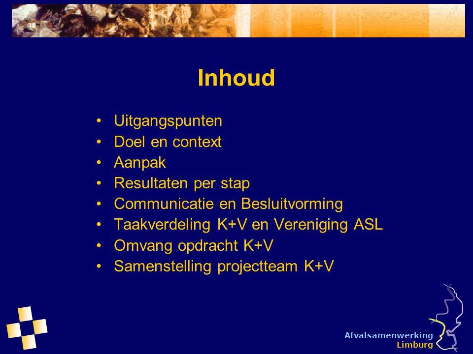 Afvalsamenwerking Limburg Inhoud Uitgangspunten Doel en context Aanpak Resultaten per stap Communicatie en Besluitvorming Taakverdeling K+V en Verenig