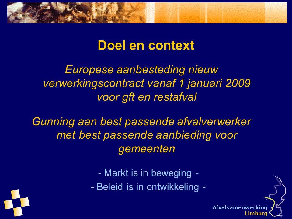 Afvalsamenwerking Limburg Doel en context Europese aanbesteding nieuw verwerkingscontract vanaf 1 januari 2009 voor gft en restafval Gunning aan best