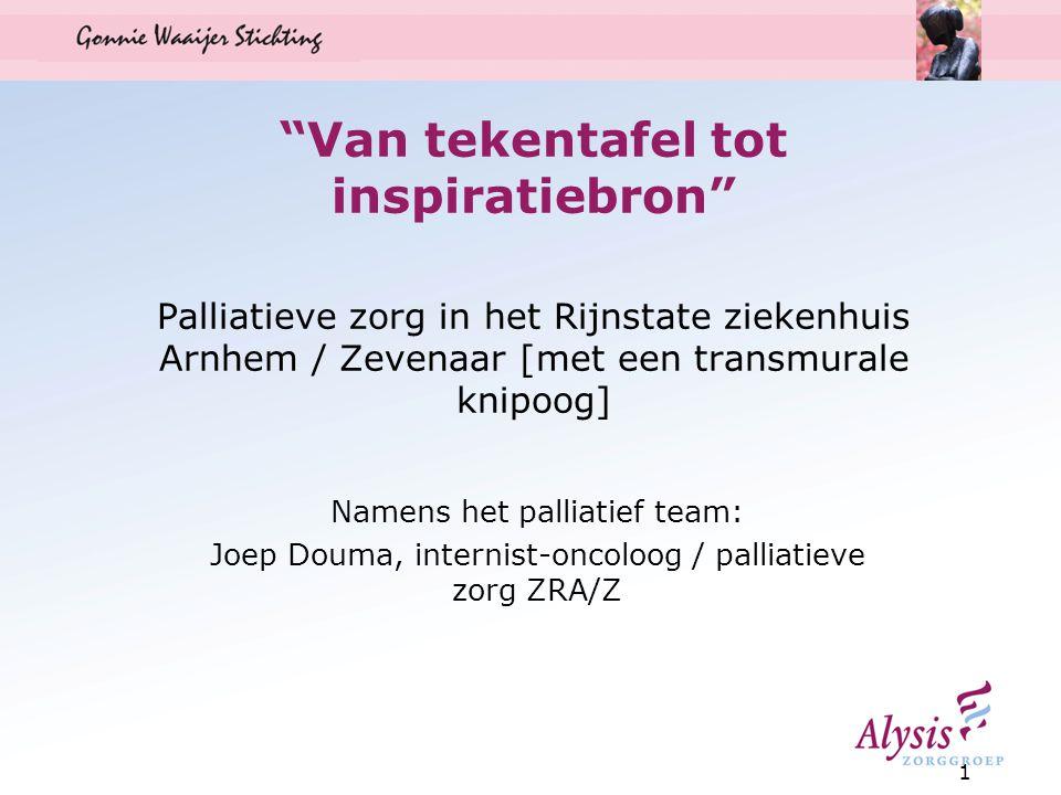 Van tekentafel tot inspiratiebron Palliatieve zorg in het Rijnstate ziekenhuis Arnhem / Zevenaar [met een transmurale knipoog] Namens het palliatief team: Joep Douma, internist-oncoloog / palliatieve zorg ZRA/Z 1