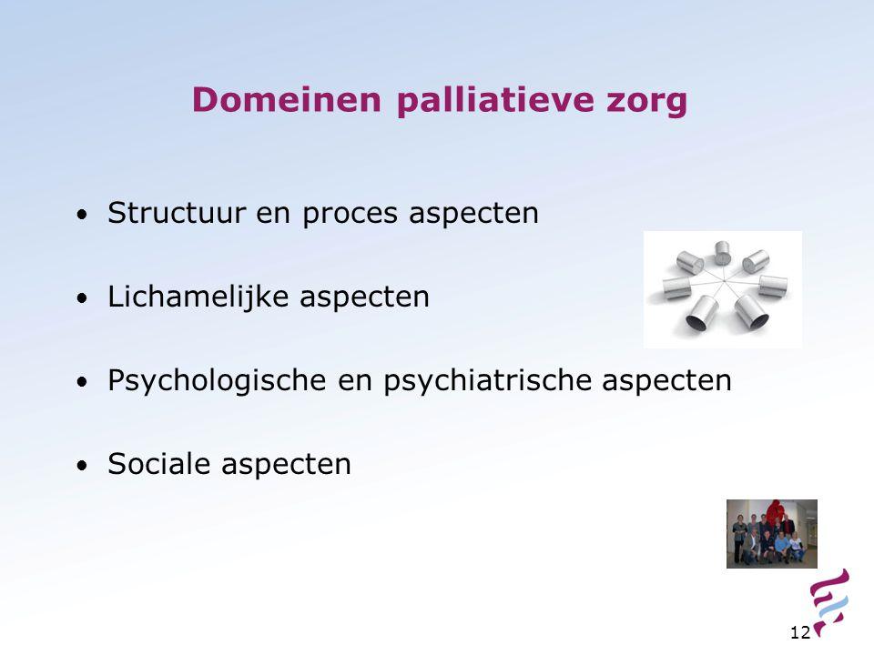 12 Domeinen palliatieve zorg Structuur en proces aspecten Lichamelijke aspecten Psychologische en psychiatrische aspecten Sociale aspecten