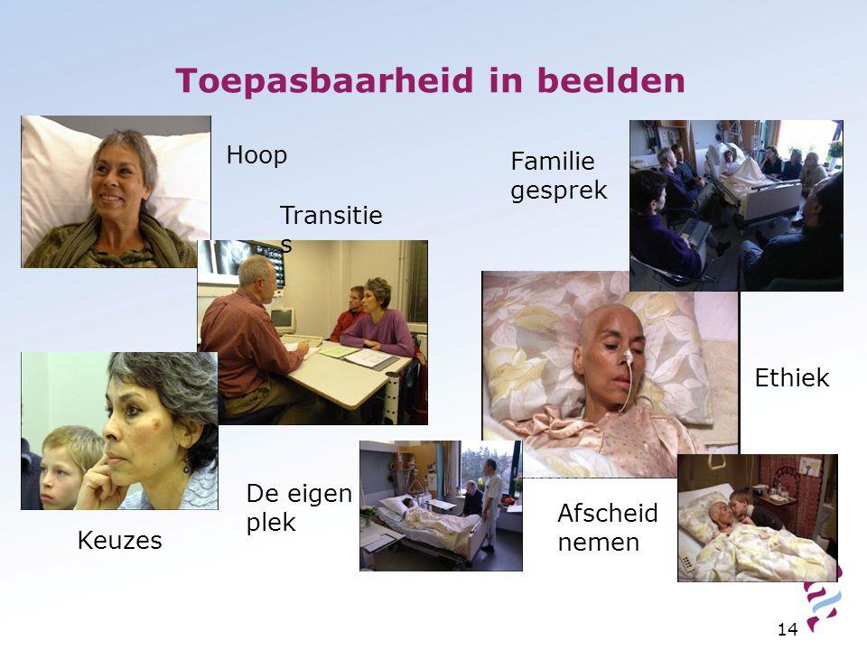 Toepasbaarheid in beelden 14 Hoop Transitie s Familie gesprek Ethiek Keuzes Afscheid nemen De eigen plek