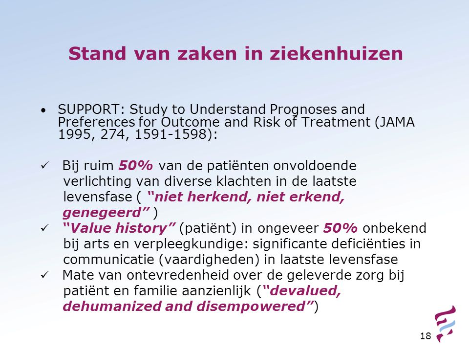 18 Stand van zaken in ziekenhuizen SUPPORT: Study to Understand Prognoses and Preferences for Outcome and Risk of Treatment (JAMA 1995, 274, 1591-1598