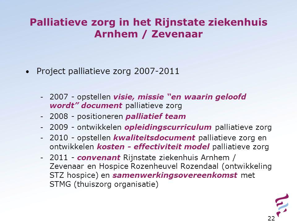 Palliatieve zorg in het Rijnstate ziekenhuis Arnhem / Zevenaar Project palliatieve zorg 2007-2011 - 2007 - opstellen visie, missie en waarin geloofd wordt document palliatieve zorg - 2008 - positioneren palliatief team - 2009 - ontwikkelen opleidingscurriculum palliatieve zorg - 2010 - opstellen kwaliteitsdocument palliatieve zorg en ontwikkelen kosten - effectiviteit model palliatieve zorg - 2011 - convenant Rijnstate ziekenhuis Arnhem / Zevenaar en Hospice Rozenheuvel Rozendaal (ontwikkeling STZ hospice) en samenwerkingsovereenkomst met STMG (thuiszorg organisatie) 22