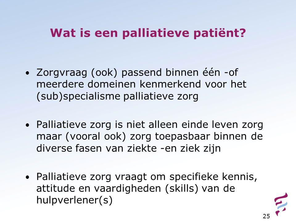 Wat is een palliatieve patiënt? Zorgvraag (ook) passend binnen één -of meerdere domeinen kenmerkend voor het (sub)specialisme palliatieve zorg Palliat