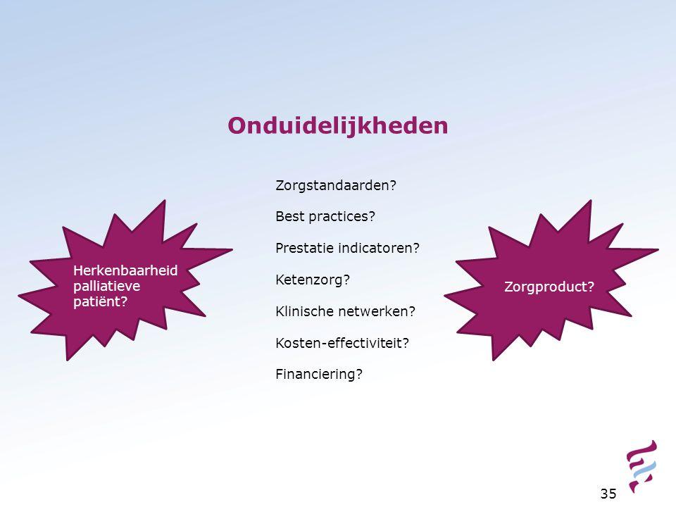 Zorgstandaarden? Best practices? Prestatie indicatoren? Ketenzorg? Klinische netwerken? Kosten-effectiviteit? Financiering? Herkenbaarheid palliatieve