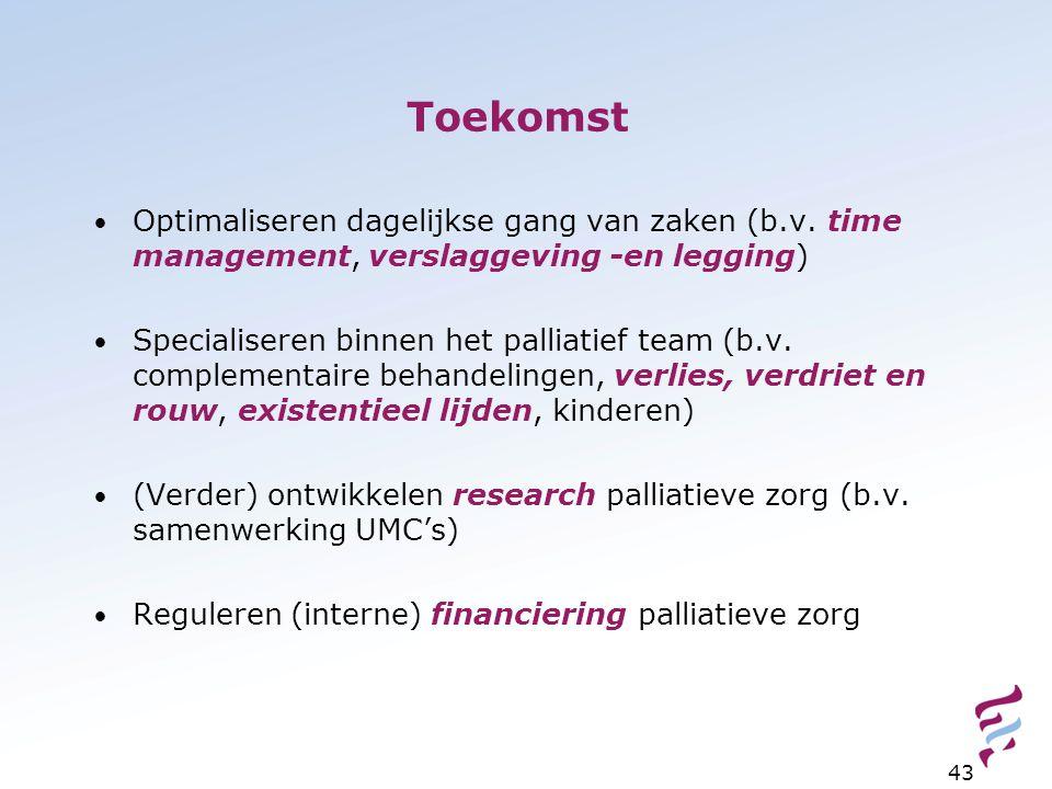 Toekomst Optimaliseren dagelijkse gang van zaken (b.v. time management, verslaggeving -en legging) Specialiseren binnen het palliatief team (b.v. comp