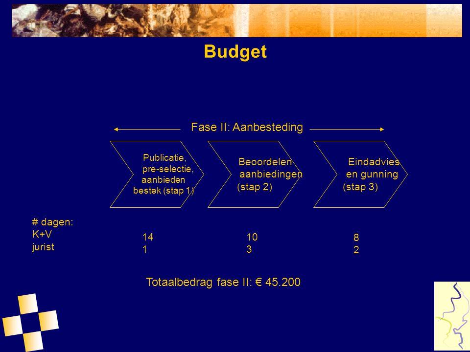 Budget Publicatie, pre-selectie, aanbieden bestek (stap 1) Beoordelen aanbiedingen (stap 2) Eindadvies en gunning (stap 3) Fase II: Aanbesteding # dag