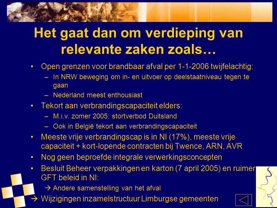Het gaat dan om verdieping van relevante zaken zoals… Open grenzen voor brandbaar afval per 1-1-2006 twijfelachtig: –In NRW beweging om in- en uitvoer