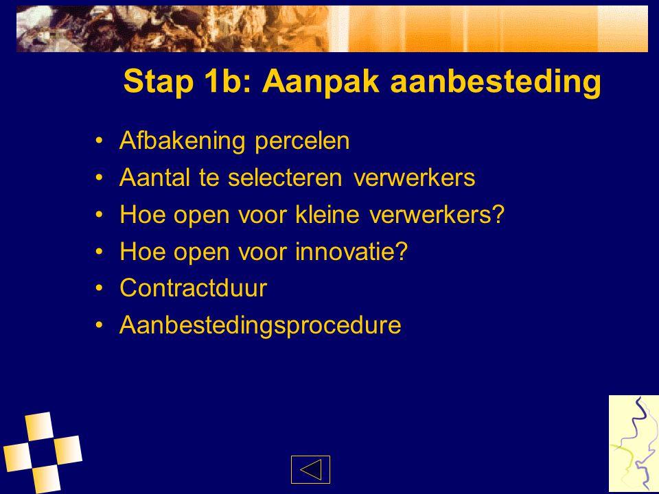 Stap 1b: Aanpak aanbesteding Afbakening percelen Aantal te selecteren verwerkers Hoe open voor kleine verwerkers? Hoe open voor innovatie? Contractduu