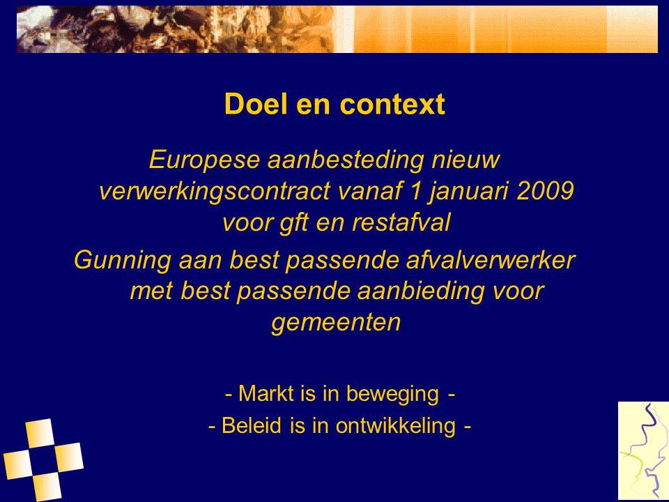 Doel en context Europese aanbesteding nieuw verwerkingscontract vanaf 1 januari 2009 voor gft en restafval Gunning aan best passende afvalverwerker me