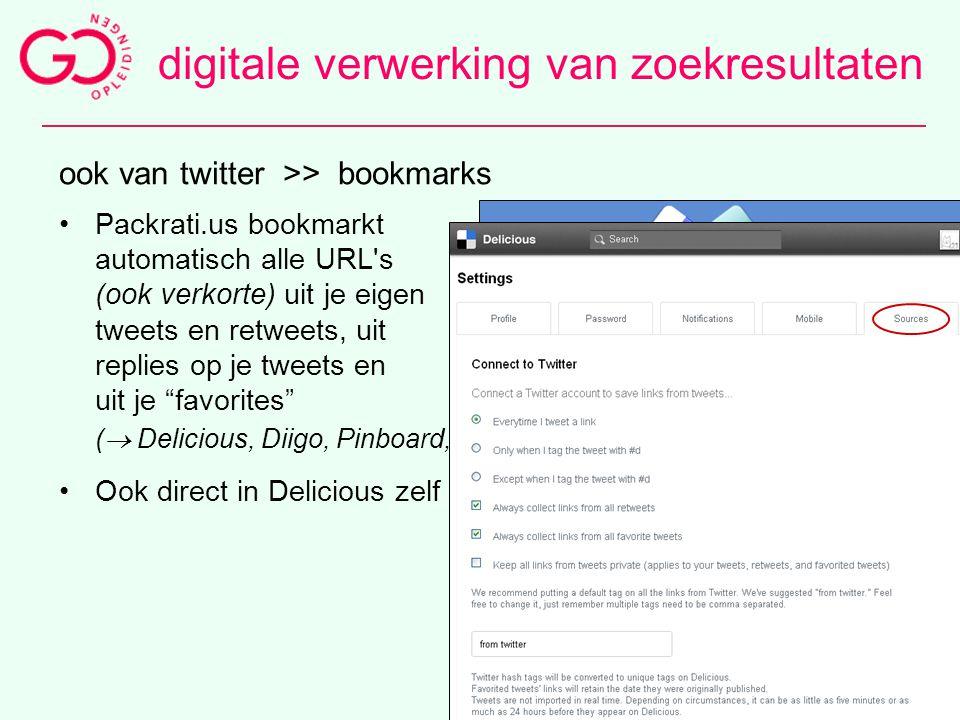 65 ook van twitter >> bookmarks Packrati.us bookmarkt automatisch alle URL's (ook verkorte) uit je eigen tweets en retweets, uit replies op je tweets