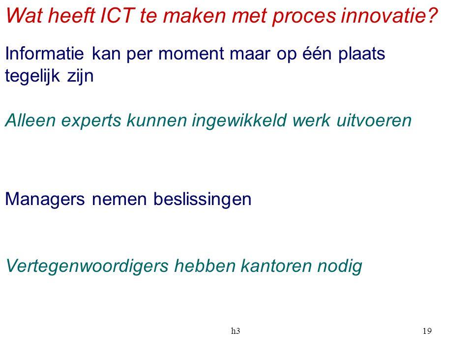 h319 Wat heeft ICT te maken met proces innovatie? Informatie kan per moment maar op één plaats tegelijk zijn Alleen experts kunnen ingewikkeld werk ui