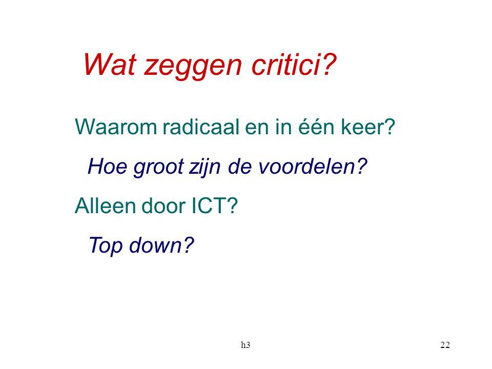 h322 Wat zeggen critici? Waarom radicaal en in één keer? Hoe groot zijn de voordelen? Alleen door ICT? Top down?