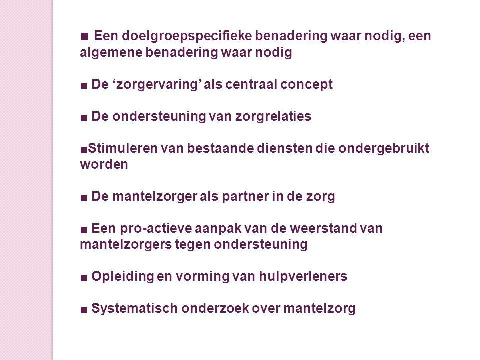 Bronnen: Chantal Van Audenhove en Anja Declercq De Mantelzorger Over zorglast, veerkracht en het belang van een goede relatie.