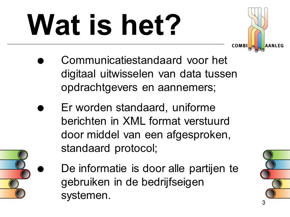 3 Wat is het?  Communicatiestandaard voor het digitaal uitwisselen van data tussen opdrachtgevers en aannemers;  Er worden standaard, uniforme beric
