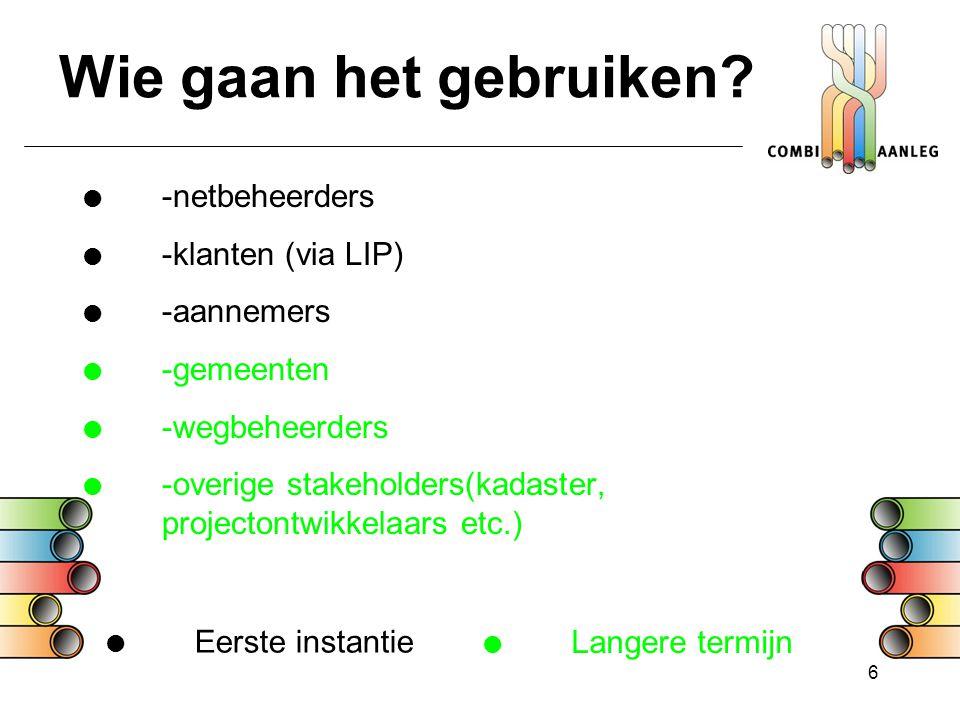 6 Wie gaan het gebruiken?  -netbeheerders  -klanten (via LIP)  -aannemers  -gemeenten  -wegbeheerders  -overige stakeholders(kadaster, projecton