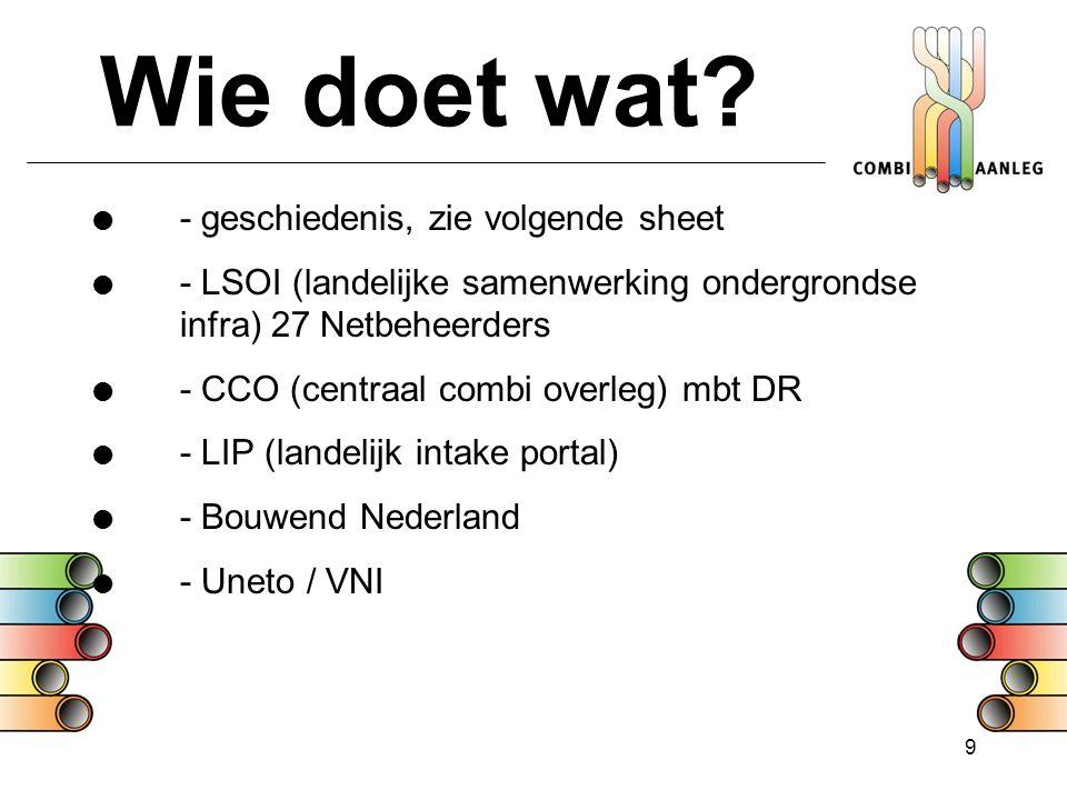 9 Wie doet wat?  - geschiedenis, zie volgende sheet  - LSOI (landelijke samenwerking ondergrondse infra) 27 Netbeheerders  - CCO (centraal combi ov