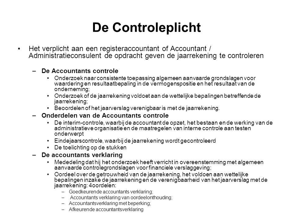 De Controleplicht Het verplicht aan een registeraccountant of Accountant / Administratieconsulent de opdracht geven de jaarrekening te controleren –De