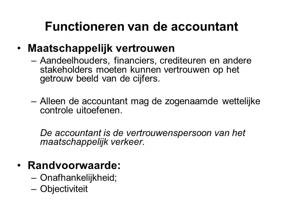 Functioneren van de accountant Maatschappelijk vertrouwen –Aandeelhouders, financiers, crediteuren en andere stakeholders moeten kunnen vertrouwen op
