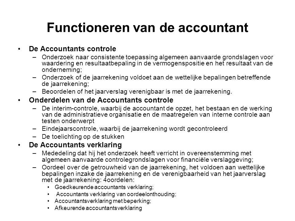 Functioneren van de accountant De Accountants controle –Onderzoek naar consistente toepassing algemeen aanvaarde grondslagen voor waardering en result