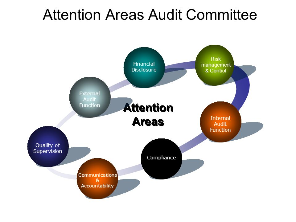 Attention Areas Audit Committee Financial Disclosure Attention Areas Risk management & Control Internal Audit Function Compliance Communications & Accountability Quality of Supervision External Audit Function