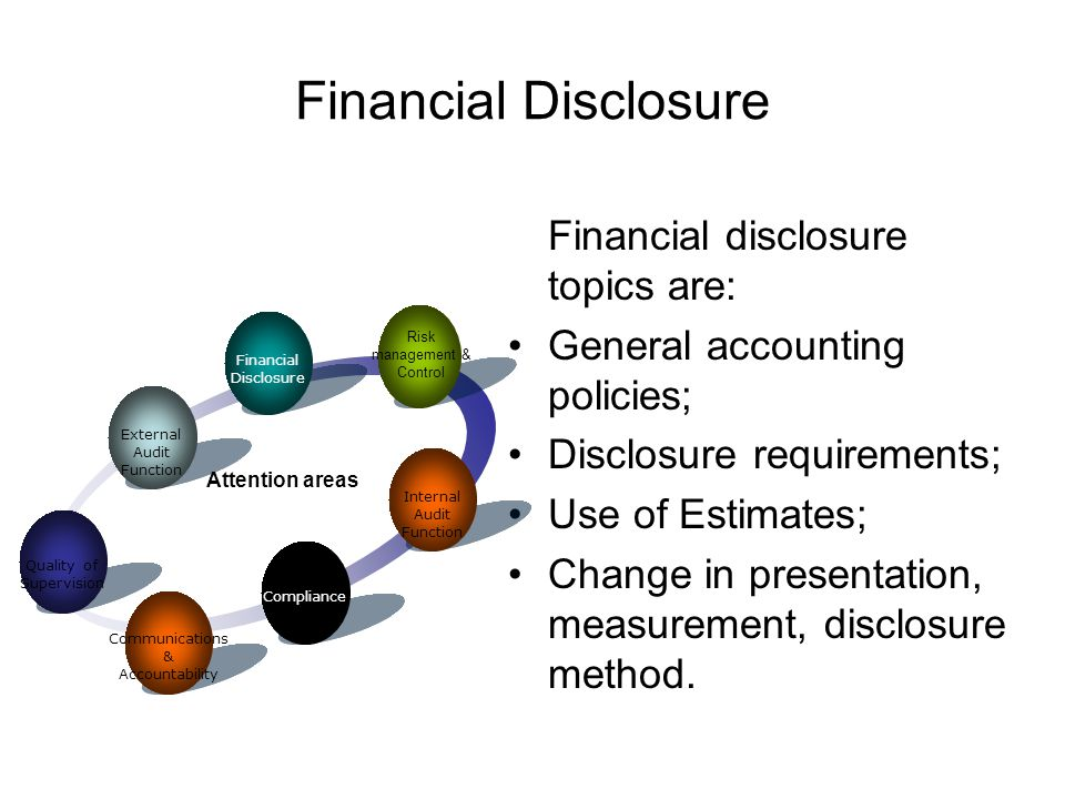 Financial disclosure topics are: General accounting policies; Disclosure requirements; Use of Estimates; Change in presentation, measurement, disclosure method.
