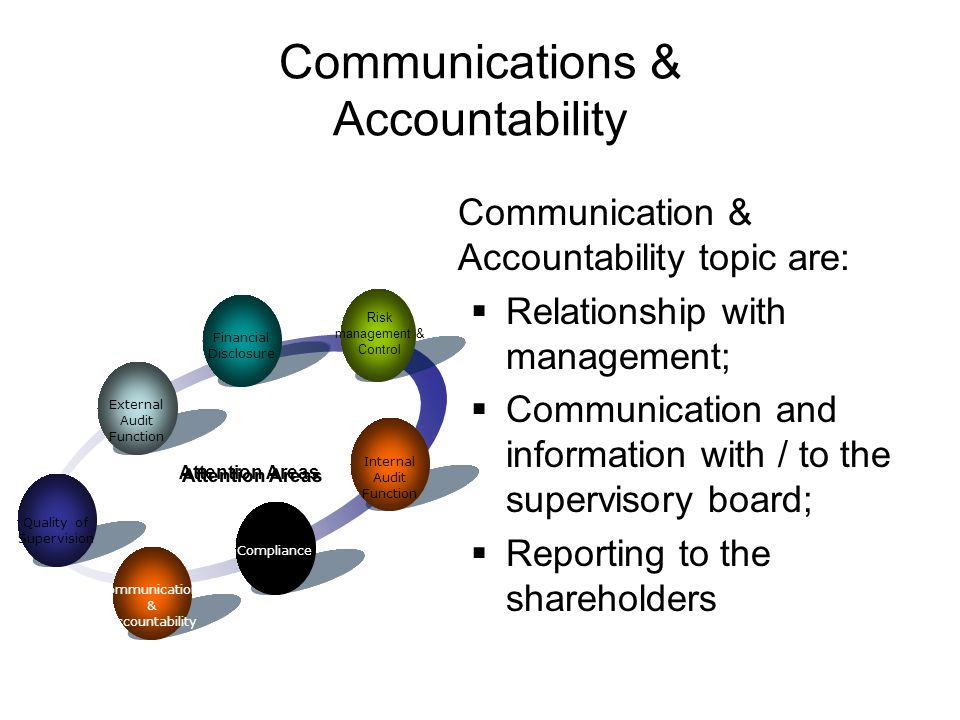Communication & Accountability topic are:  Relationship with management;  Communication and information with / to the supervisory board;  Reporting to the shareholders Financial Disclosure Attention Areas Risk management & Control Internal Audit Function Compliance Communications & Accountability Quality of Supervision External Audit Function Communications & Accountability