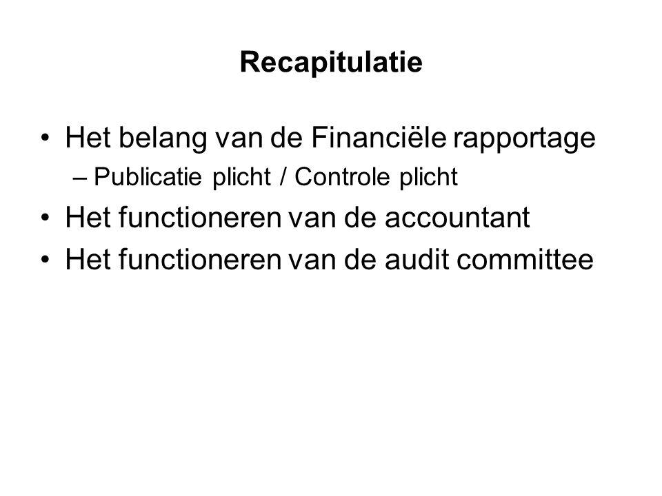 Recapitulatie Het belang van de Financiële rapportage –Publicatie plicht / Controle plicht Het functioneren van de accountant Het functioneren van de