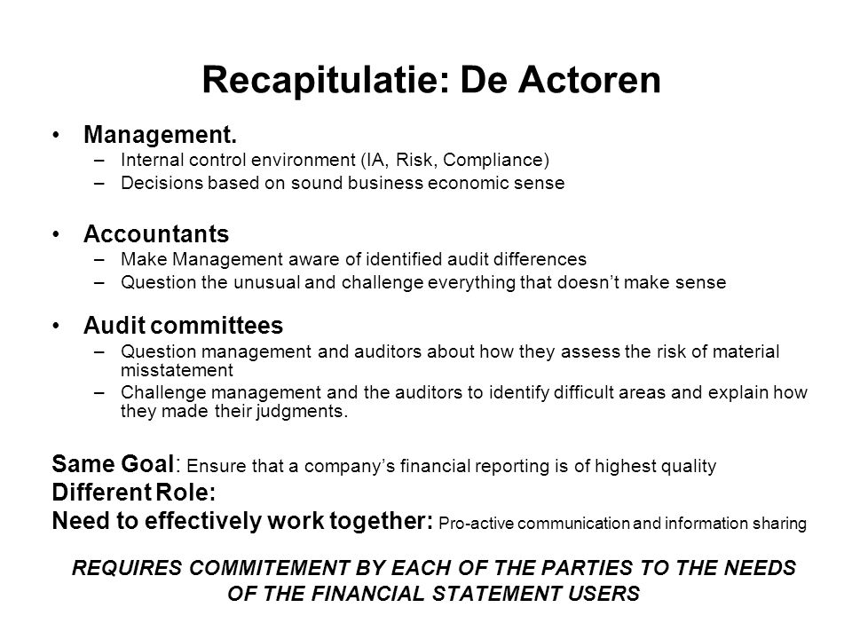 Recapitulatie: De Actoren Management.