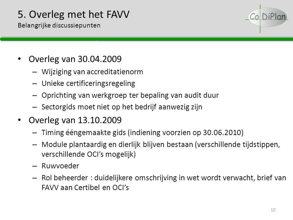 5. Overleg met het FAVV Belangrijke discussiepunten Overleg van 30.04.2009 – Wijziging van accreditatienorm – Unieke certificeringsregeling – Oprichti